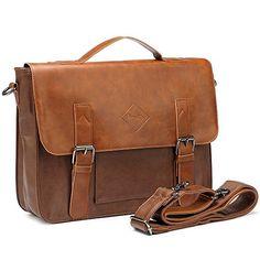 Men Vintage PU Leather Briefcase Laptop Shoulder Messenger Bag Zebella * Want additional info? Click on the image.