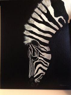 Zebra painting on canvas on Etsy, $45.00