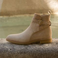 Handcrafted Custom Made Jodhpur Boot in Taupe Kid Suede From Robert August. Create your own custom designed shoes. Up Shoes, Shoe Boots, Men Boots, Shoes Men, Suede Leather Shoes, Leather Men, Chelsea Shoes, Custom Design Shoes, Custom Shoes
