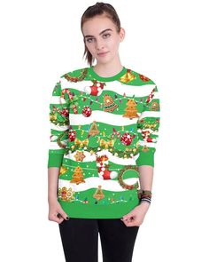 35e2f85fe52 Striped Merry Christmas Elements Green Loose Pullover Sweatshirt – pinkfad  Fancy Dress Ball