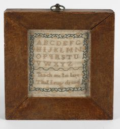 19th century sampler, with alphabet detail and verse 'Teach me to live that I may dread',