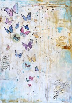 wall art Butterfly abstract painting Painting by JOLINASPRINTS
