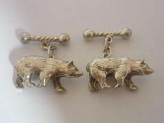 Vintage Silver Cufflinks : Sterling Silver Designer Bear Sculpture Cufflinks By PJM - Cased