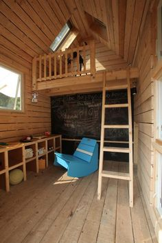 Kids' Spruce Wood Playhouse With Loft, Chalkboard Wall and Cubby Storage