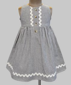 Look at this Black & White Stripe Layla Dress - Infant, Toddler & Girls Cute Little Girls Outfits, Little Girl Fashion, Little Girl Dresses, Girls Dresses, Frocks And Gowns, Kids Dress Patterns, Dress Anak, Infant Toddler, Toddler Girls
