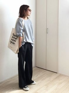 Sneakers For Women 2019 : Perfect outfit – slouchy sweater, slouchy pants, perfect sneakers. Mode Outfits, Casual Outfits, Fashion Outfits, Womens Fashion, Fashion Tips, Sweater Outfits, Fashion Styles, Fashion Brands, Girl Outfits
