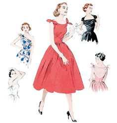 Paper sewing pattern to make a fitted bias dress with invisible side zipper and multiple options for the tie ends. Love the 1950s? Find more 50s vintage reproductions and original 50s vintage here. Co