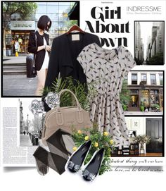 """""""girl about town"""" by vihka ❤ liked on Polyvore"""