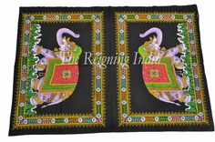Indian Wall Art Mirror Image Elephant Wall Hanging Tapestry Wall Painting 0130 | eBay