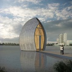 Zinc-clad chapel by René van Zuuk to be built over Almere's city lake, Netherlands.