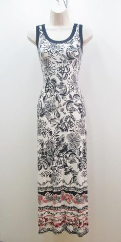 Karen Kane Americana White Navy Red Floral Print Sleeveless Stretch Maxi Dress #KarenKane #maxi