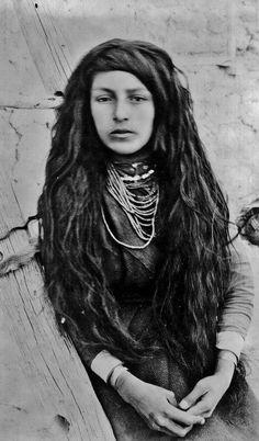 Isleta Pueblo Girl - circa 1890 - central New Mexico (Antique photo of Native American).