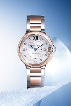 A breathtakingly elegant timepiece from the Balloon Bleu de Cartier Collection. Cast in stainless steel with a diamond bezel and rose gold accents, it truly is on-of-a-kind.