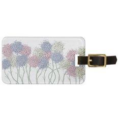 Pastel Cotton Ball Flower Scene Luggage Tag.  $8.95