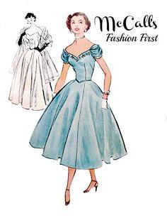 50's Strapless Off Shoulder Evening Dress by VintageNeedleFinds
