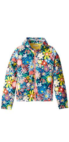 The future looks bright, flower child.  An ordinary day can blossom into a gorgeous garden party cloaked in the cherished charm of the #StellaMcCartney #Kids Scout #Floral #Windbreaker.  #outerwear #girls #apparel #clothing #jackets #children #childrenswear