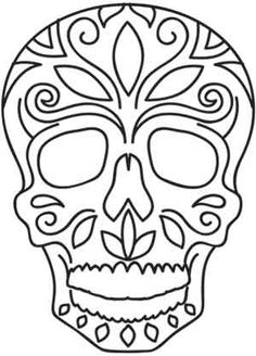 Embroidery Designs at Urban Threads - Muertos Lite Urban Threads, Day Of The Dead Mask, Day Of The Dead Skull, Skull Coloring Pages, Colouring Pages, Fall Halloween, Halloween Crafts, Skull Template, Mask Template