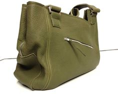 Gorgeous bespoke made to order olive green leather bag. Bags of room!