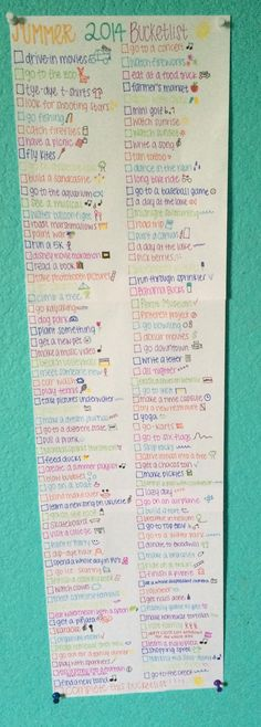 Summer 2014 bucketlist