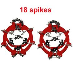 Shaddock Fishing Nonslip Shoe Ice Cleats Cover 1 Pair 18 Teeth Claws Stainless Steel Chain Ski Ice Snow Hiking Climbing Traction Cleats Crampons 18 Teeth  Red * Check out the image by visiting the link.(This is an Amazon affiliate link)