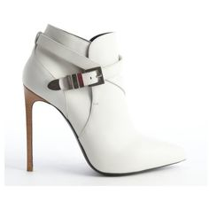 Saint Laurent Porcelain leather wraparound detail heel booties ($725) ❤ liked on Polyvore featuring shoes, boots, ankle booties, ankle boots, booties, heels, buckle ankle boots, high heel booties, buckle boots and leather bootie