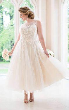 6258+ Tea-Length Tulle Plus Size Wedding Dress by Stella York