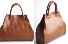 Oversize Leather Work Tote Bag in Cognac AVENUE by VellePurse, $110.00