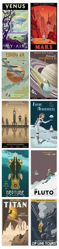 Retro-style Space Travel Posters by Steve Thomas