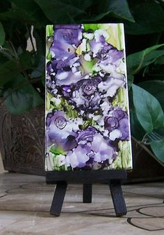 Alcohol ink painting on tile abstract purple by twocooltexans