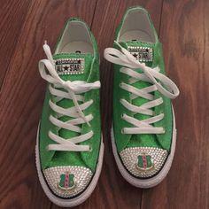 AKA Glitter & Swarovski Crystal Sneakers - Alpha Kappa Alpha Converse Sneakers - Designs by Dee's Hands - 1 Aka Sorority, Alpha Kappa Alpha Sorority, Sorority Sisters, Girls Sneakers, Converse Sneakers, Green Converse, Bling Shoes, Womens Fashion Sneakers, Girls Wear