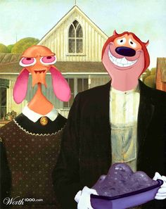 Ren and Stimpy American Gothic