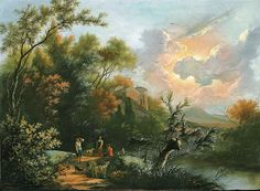 An Italianate Hilly and Wooded River Landscape with Shepherds and their Flock at Rest, 17th century, oil on panel, Jan Snellinck III, Dutch, 1640-1691, Lawrence Steigrad Fine Art.  In the 1600s the Dutch recovered more than 425 square miles of land from the sea and inland lakes with a complex system of dikes and drainage. Admiration for this engineering feat led to an increased interest in scenic paintings.