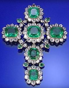 ROYAL EMERALD AND DIAMOND CRUCIFIX PENDANT, LATE 18TH CENTURY. #antique #pendant