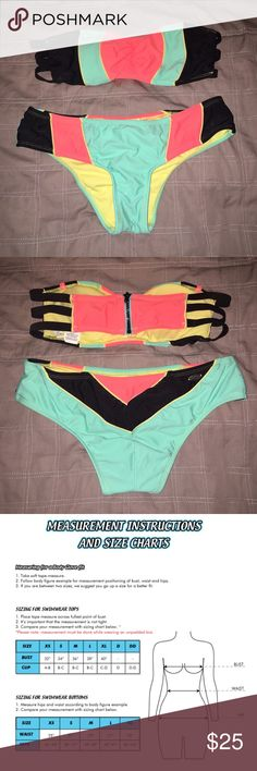 Bikini Both top and bottoms are size Medium, the bottoms have a small stain on them however. The top has stylish straps and a zipper to make the cutest bathing suit! ☀️👙 The mediums run a little small in my opinion... Hobie Swim Bikinis