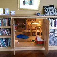 """secret playroom through cabinet doors in bookshelf? It could be made into a safe room by simply making a false door look like part of the bookcase. You could build a fantasy tent like in the movie """"The Holiday"""" for girls."""