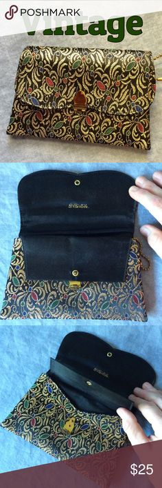 Colorful Vintage Clutch  Colorful Vintage Clutch  Unusual clutch with two compartments, each with a flap (see 3rd photo), a lipstick sleeve and a side grommet (metal ring in the fabric) for a wrist strap or small chain to hold a key. Incredible condition and the variety of colors work with so many outfit choices. A great addition to any vintage collection! Vintage Bags Clutches & Wristlets