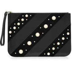 47d4e2f312 Karl Lagerfeld Embellished Leather Zipped Clutch (€158) ❤ liked on Polyvore  featuring bags