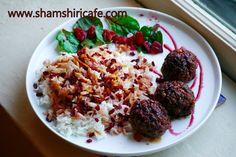 Welcome to Shamshiri cafe: Pomegranate blood orange glazed walnut meatballs