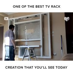 He build a modern tv rack from start to finish. Room Design with tv videos How He Build a Modern TV Rack Tv Wall Decor, Room Decor, Wall Tv, Tv Wanddekor, Tv Unit Furniture, Furniture Dolly, Modern Tv Wall Units, Living Room Tv Unit Designs, Ruang Tv