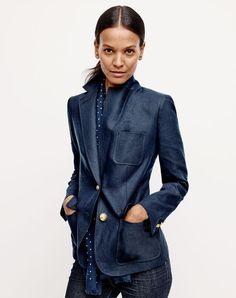J.Crew women's Rhodes blazer in linen, lookout high-rise jean in Resin wash and men's dotted scarf.