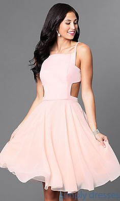 Shop for open back semi-formal dresses at Simply Dresses. Pink cocktail dresses and knee-length dresses for homecoming.
