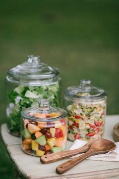 Use big lidded jars to serve salads and sides. It looks great and keeps the bugs out.