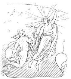 Skabelsen af månen beskrives i skabelsesberetningen.  Denne fortæller, hvorledes alt startede.  Før noget andet fandtes, var der mod nord det kolde Niflheim og mod syd det brændende varme Muspelheim.  Mellem disse var en stor kløft, Ginnungagap, hvori urjætten Ymer blev dannet.  Fra ham stammer alt liv i verden.   De tre guder Odin, Vile og Ve dræbte Ymer og skabte af hans legeme selve verden: jord, bjerge, sand, have m.m.  Hans hjerneskal satte de op som himmelhvælvingen over jorden og på…