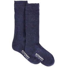Sperry Women's Marled Boyfriend Boot Crew Socks ($10) ❤ liked on Polyvore featuring intimates, hosiery, socks, navy, sperry top-sider socks, crew socks, marled socks, navy blue crew socks and navy socks