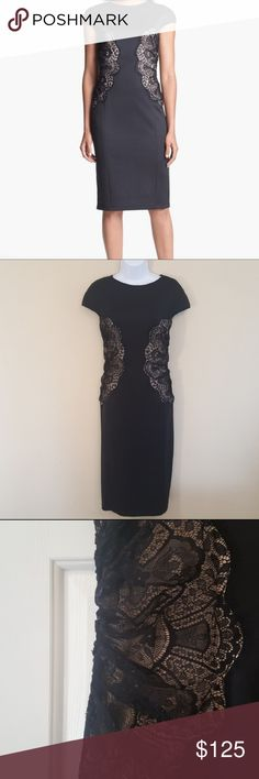 """Tadashi Shoji lace panel dress EUC. Worn once. Smoke and pet free home. No stains or rips. Perfect for wedding or formal event. Fabric has a little stretch to it.   Measurements are approximate  Length- 42 1/2"""" Bust- 36"""" Waist-34"""" Tadashi Shoji Dresses"""