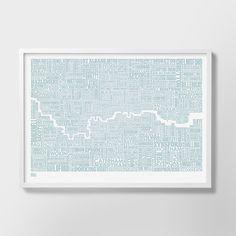 London and beyond Type Map, London Type Map, London Word Map, London Artwork, London Wall Poster, London Print, London Screen Print, London