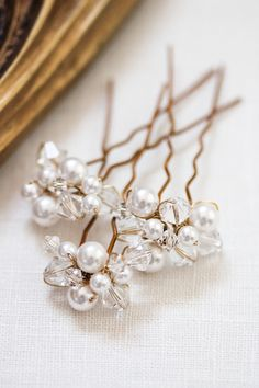 CARTER bridal hair accessories, lovingly handmade from pearls and sparkly crystals by @Percy Handmade