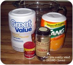 Spiced Tea Mix Recipe 2 cups orange-flavored drink mix (Tang) 1 cup lemon flavored instant tea powder (has sugar mixed in) 1 teaspoon ground cinnamon 1 teaspoon ground cloves One of my Favorite Beverages. Great on a cold or rainy day! TO MAKE A CUP: Mix 3 teaspoons of mix to a mug of hot water.
