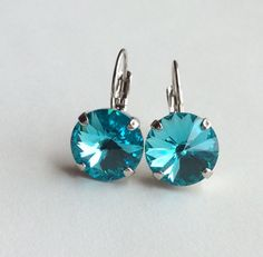 Swarovski Crystal Earrings -12mm  Radiant Light Turquoise Drop Earrings - Classy & Feminine