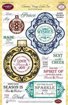 """JustRite Papercrafr Christmas Vintage Labels Four - 6"""" x  8"""" Clear Stamps designed by Amy Tedder.  Coordinates with JustRite Vintage Labels Four Dies and 2013 Heirloom Ornament Dies."""